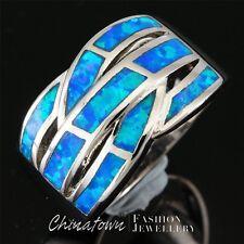 Ocean Blue Fire Opal Silver Jewelry Twist Wide Bypass Ring US Size 7 8 9 10