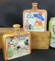SCHAFER & VATER Vintage NIPPER FLASK Lot (2) Wee SCOTCH & Masters Breath 3341 44