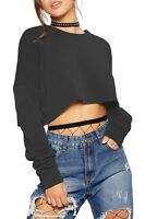 Womens Baggy Raw Edge Sweat Cropped Jumper Dance Gym Sporty Poll Over Crop Top