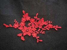 A Red bridal floral lace Applique/ wedding lace motif for sale. 19x10cm by pcs
