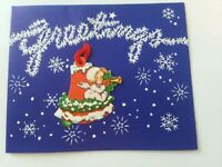 UNUSED Vtg Angel on Bell Ornament attached to CHRISTMAS GREETING CARD