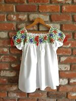 MEXICAN FOLK ART TOP ~ Vintage 70's Glass Beaded Thick Cotton Oaxacan Blouse