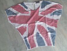 Haut pull femme style chauve-souris taille 38 manche courte drapeau anglais