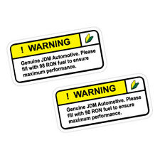2X WARNING GENUINE JDM VEHICLE RON 98 FUEL ONLY Sticker Decal Car  #1170
