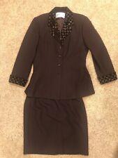 Albert Nipon Women's Brown Skirt Suit W/ Sequin Embellishments Beautiful Size 8