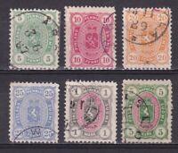 Finland 1885, Sc #31-36, CV $541, Used