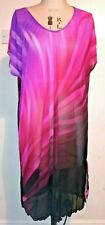 Cotton Traders Mesh Jersey Dress Size 24 - 26 TROPICAL PRINT pink red black mult
