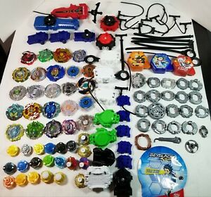 Large Lot of Beyblade Launchers, Spinners, Cords Parts Assorted Collection As-Is