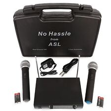 No Hassle Dual VHF Wireless Radio Microphone System Set Two Handheld Mics & Case