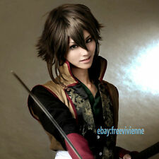 Hakuouki Okita Souji short brown mix Cosplay party Full Wig+ free wig cap