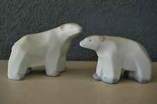 Stylized Abstract Geometric Modernist Deco Art Pottery Polar Bear Figurine Pair