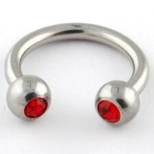 Two (2)  Red Gem Circular Barbell Stainles Steel Ring 14 Gauge Ships from US