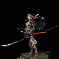 1/18 90mm Japanese samurai Garage Kits Female Warrior Figure Model Unpainted GK