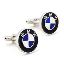 BMW CUFFLINKS Auto Car Logo Silver Metallic NEW w GIFT BAG Emblem Groom Wedding
