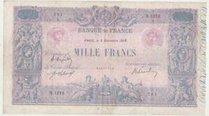 1000 Francs Bleu et rose  05/12/1919 TTB  ( 271 )