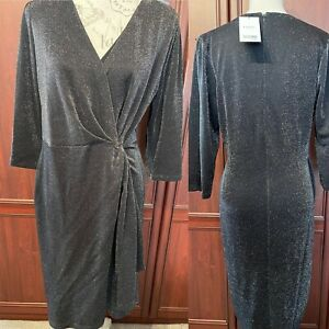 NEXT NWT UK 16 Black/ Silver Sparkly Dress Wrap Look Party Event Xmas RRP £40