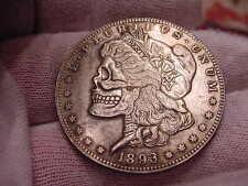 "RARE Hobo ""1893"" Morgan Dollar Eagle Back Silver Plated Toned Skull Coin-Series1"