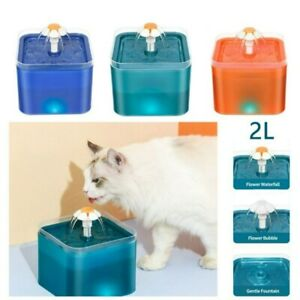 2L Automatic USB LED Electric Pet Water Fountain Cat/Dog Drinking Dispenser UK