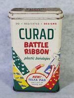 RARE VINTAGE CURAD 'BATTLE RIBBON' PLASTIC BANDAGES FOR KIDS (TIN ONLY)