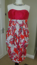 MONSOON ORIGINALS Strapless 100% Silk Dress Cruise Cocktail Party Prom Size UK 8