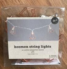 BNIB Bremen Copper String Geometric LED Fairy Lights Never Used