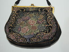 Edwardian - 1920's Pettipoint / Embroidered Black Faille Purse