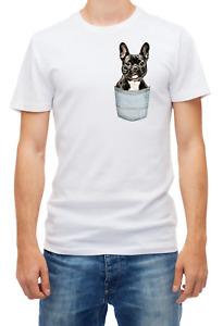 French bulldog pocket Black / Cream funny Short sleeve White Men T shirt