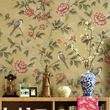 Chinese birds Flowers Floral Pastoralroom wallpaper backdrop hotels Yellow