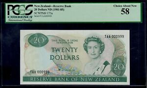 NEW ZEALAND 20 DOLLARS 1981-85 FANCY # 000999 PICK 173a PCGS 58 CHOICE ABOUT UNC