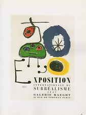 "1989 VINTAGE ""MIRO EXPOSITION SURREALISME"" MOURLOT MINI POSTER COLOR Lithograph"