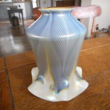 Antique Vintage QUEZAL Blue Pulled Feather Lamp Shade Gold Aurene Interior