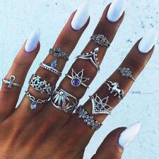 13pcs Silver Boho Bohemian Vintage Retro Women's Mid Finger Knuckle Rings Set UK