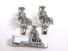 Sarah Coventry Tom Sawyer Huck Finn Dog Cufflinks Tie Bar Set, Gift Boxed!