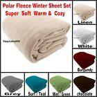 Polar Fleece Soft Cozy King Queen Winter Sheet set Linen Teal White more Designs