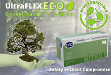 100 BIODEGRADABLE UltraFLEX ECO Disposable Green Nitrile Gloves ECO friendly M