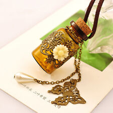 Hot Vintage Glass Wishing Bottle Butterfly Pendant Brown Leather Necklace