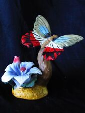 Hand Painted Porcelain Red Green Butterfly Blue Flower Pink Bud Antenne Figurine