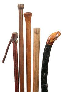 group of 5 wood walking sticks  CP
