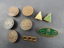 lot of 9 original CCC Civilian Conservation Corps & National Park Service PINS