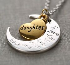 LOT BUY (5) I Love You To The Moon And Back DAUGHTER Pendant Necklace