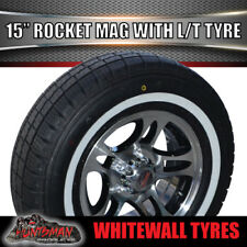 "15"" Rocket Mag Wheel suit Ford 195R15 LT Whitewall Tyre Caravan Trailer Boat"