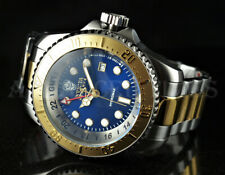 Invicta 52mm Reserve SKULL Hydromax Blue Deep Dish Dial SWISS GMT Two Tone Watch