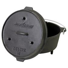 12 in. Deluxe Preseasoned Cast Iron Dutch Oven Chef Black Camping Cooking Pot