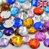 100 Mixed Faceted Beads Acrylic Rhinestones Gems 10 mm Round Flat Back Sew On #4