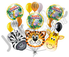 15 Jungle Fever Balloon Bouquet Happy Birthday Safari Animal Giraffe Zebra Tiger