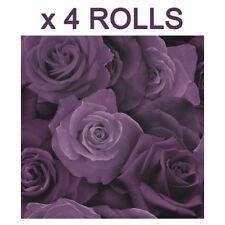 Purple Roses Wallpaper Flower Floral Heavyweight Modern Bulk Deal 4 Rolls