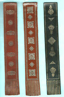 Vintage Leather Bookmark Gold Geometric Heraldic Crest Gift Man Him