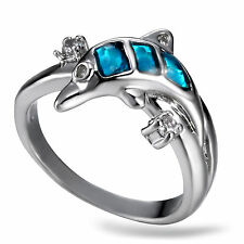 Blue Fire Opal & dolphin Women Jewelry Gemstone Silver dolphin Ring Size 8 RM05