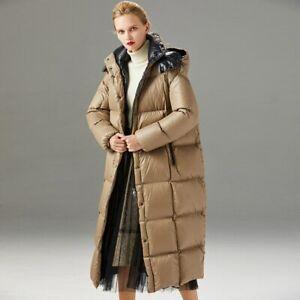 Women Puffer Jacket Winter Long Down Coat Hooded Outwear Windproof Camel 38733