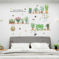 EE_ Funny Flower Plant Bonsai Butterfly Removable Wall Sticker DIY Decal Decor W